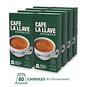 Café La Llave Espresso Capsules, Intensity 11 (80 Pods) Compatible with Nespresso OriginalLine Machines, Single Cup Coffee
