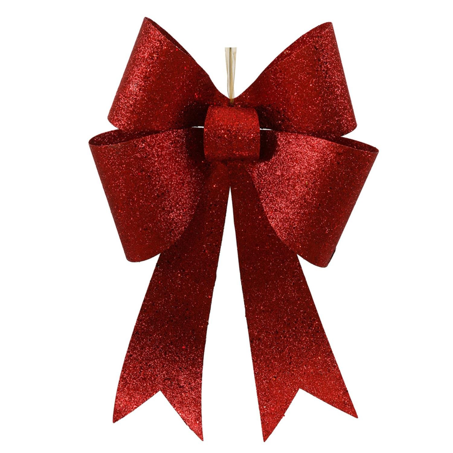 Vickerman Large 24'' Commercial Sized Sparkling Red Glitter 4 Loop Christmas Bow