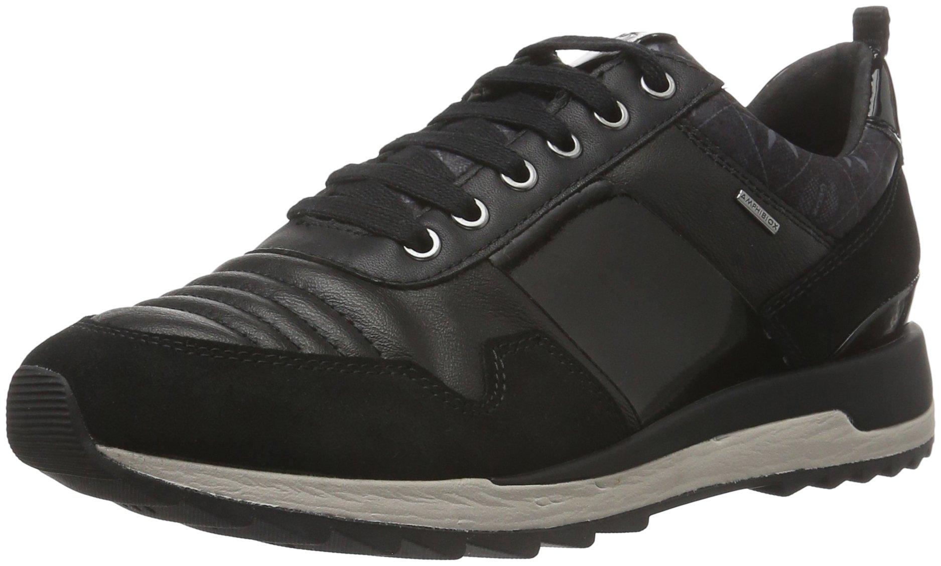 Geox D Aneko B ABX Womens Leather Waterproof Sneakers / Shoes-Black-10.5