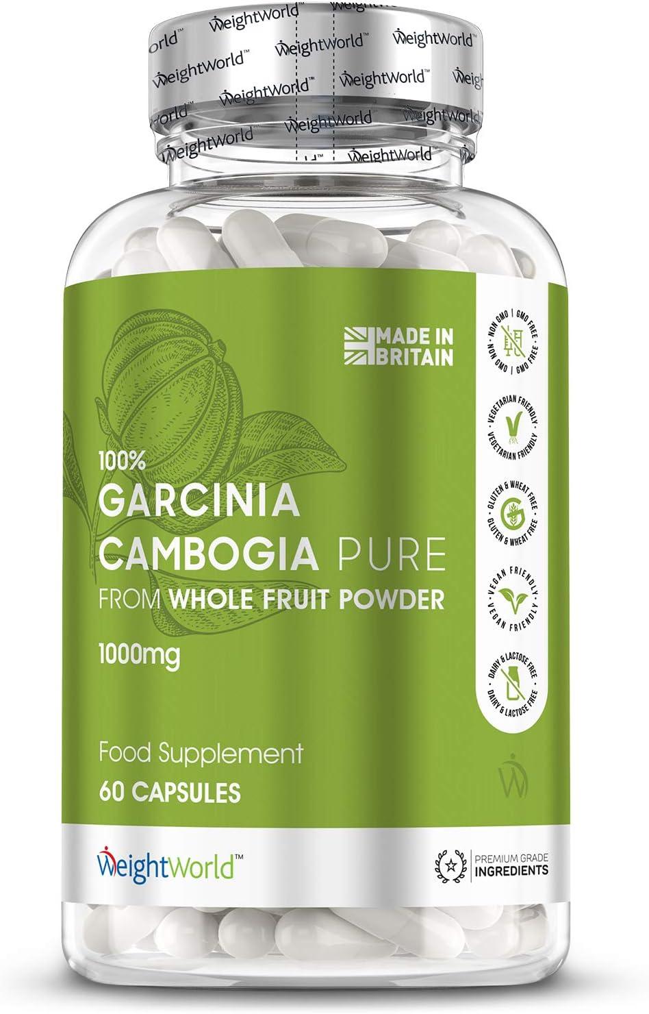 Garcinia Cambogia Pura 1000mg | Quemagrasas Potente Para Adelgazar, Suplemento Natural Termogénico de Alta Potencia para Perder Peso, Reductor del Apetito, 60 Cápsulas