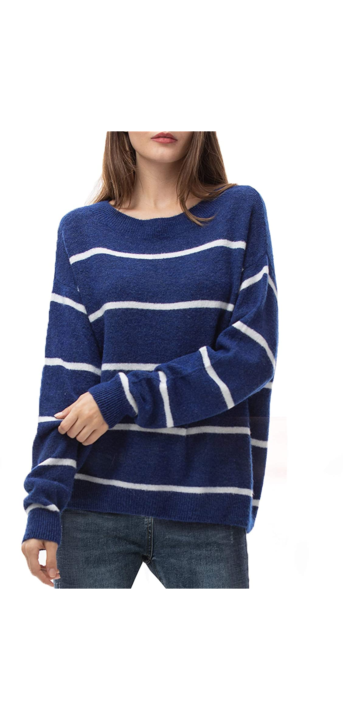 Women's Oversized Loose Sweater Crew Neck Pullover