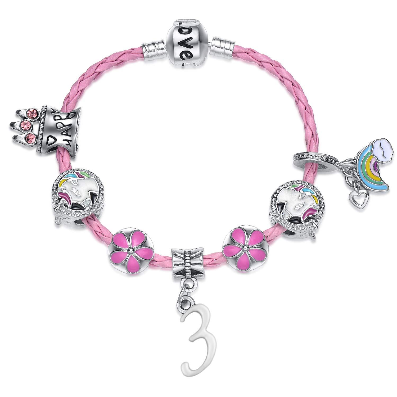 Girls Happy Birthday Unicorn Bracelet, Pink Unicorn Charm Bracelet Jewelry Gifts for Girls W.H. DuJour
