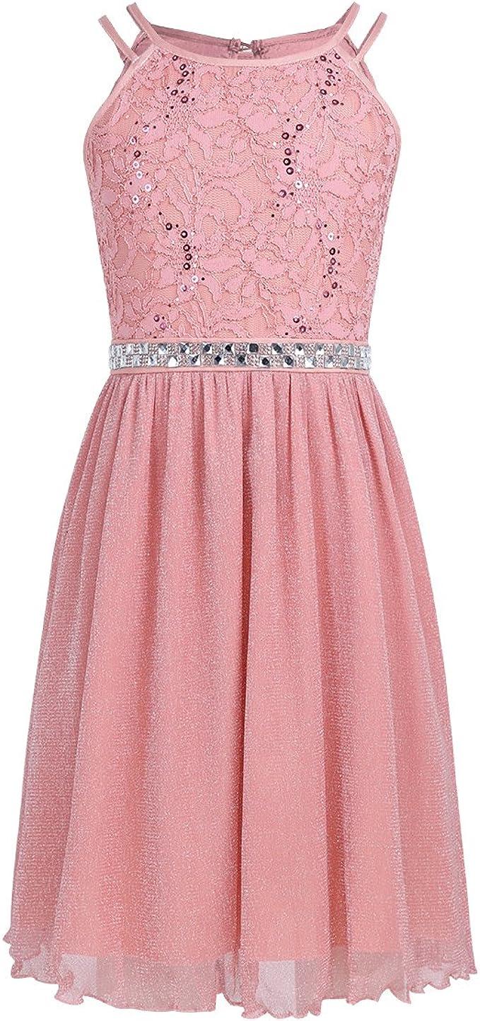 iEFiEL Festliches Kleid Mädchen Kinder Spitzen Kleid Hochzeit Prinzessin  Kleider Tüll Festzug Kleid Blumenmaedchenkleid kurz Partykleid