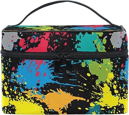 Bolsa de maquillaje, colorida pintura impresión cosmética neceser de almacenamiento organizador estuche grande asa de viaje personalizado bolsa con compartimentos para adolescentes, niñas, mujere: Amazon.es: Belleza