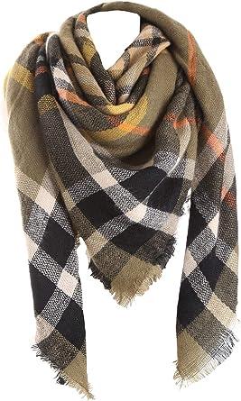 Womens Plaid Scarf Wrap Soft Woven Polyester Blanket Tartan Scarves Shawl Class