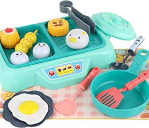 JX 16Pcs Kids Pretend Play Kitchen Toy, Hot Pot Barbecue Playset, Pretend Play BBQ for Kids, Food, Tongs, Forks and Plates Toy Barbecue Set for Kids Toddler Girls and Boys