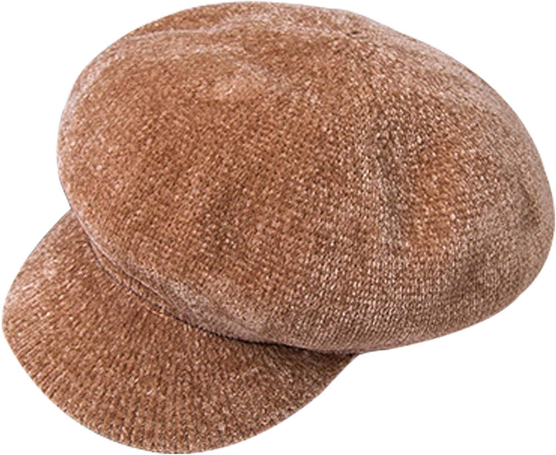 Bestgift Womens Solid Color Adjustable Vintage Newsboy Hat