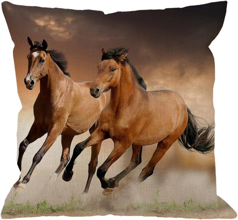 Running Horse Linen Waist Pillow Case Home Decor Throw Sofa Car Cushion Cover