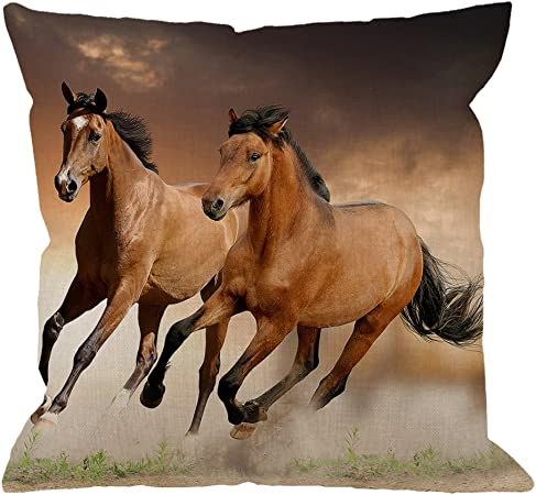 Horse Equestrian Shire Clydesdale Themed Cotton Cushion Cover Perfect Gift
