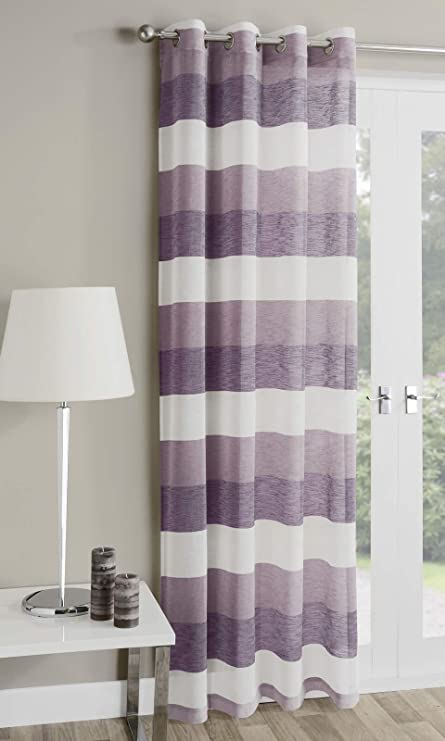 Mykonos Striped Eyelet Curtain Panel Ring Top Voile Heather Purple