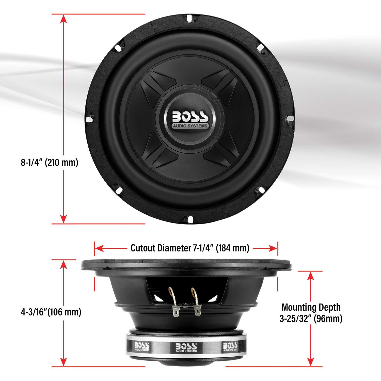 BOSS Audio Systems P80DVC 1000 Watt 8 Inch Dual 4 Ohm Voice Coil Car Subwoofer
