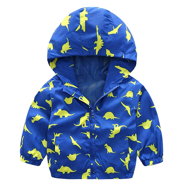 Little Boys Rain Jacket Hoodie Zip Up Dinosaur Coat Toddler Hood Sport Outerwear