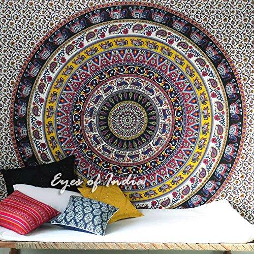 Eyes of India Large Queen Black Elephant Mandala Bedspread Indian Tapestry Bohemian Beach Dorm Boho