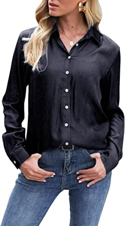 Button Down Shirts for Women Long Sleeve Chambray Blouse Tops
