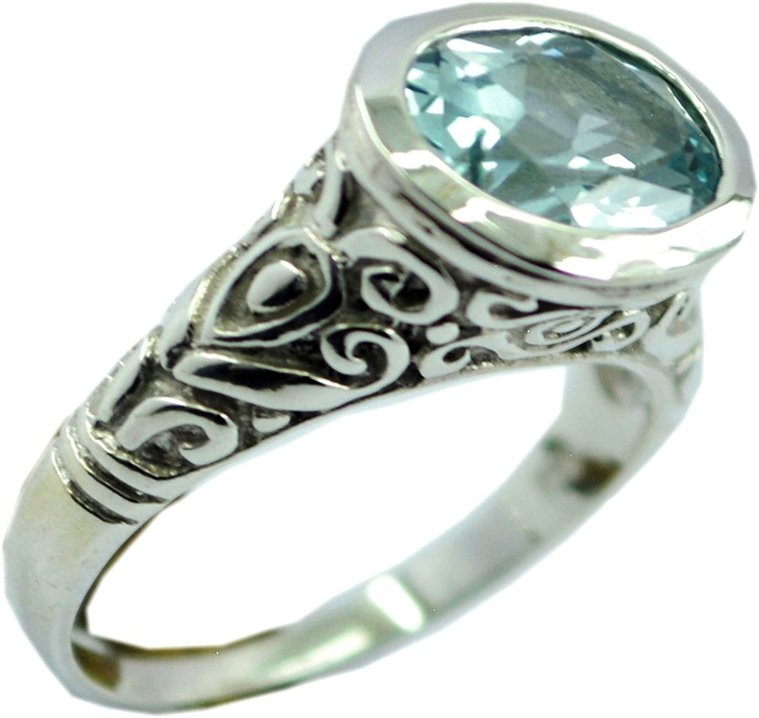 Vintage Octagon Blue Crystal Ring 925 Sterling Silver Ring RG 1090-E