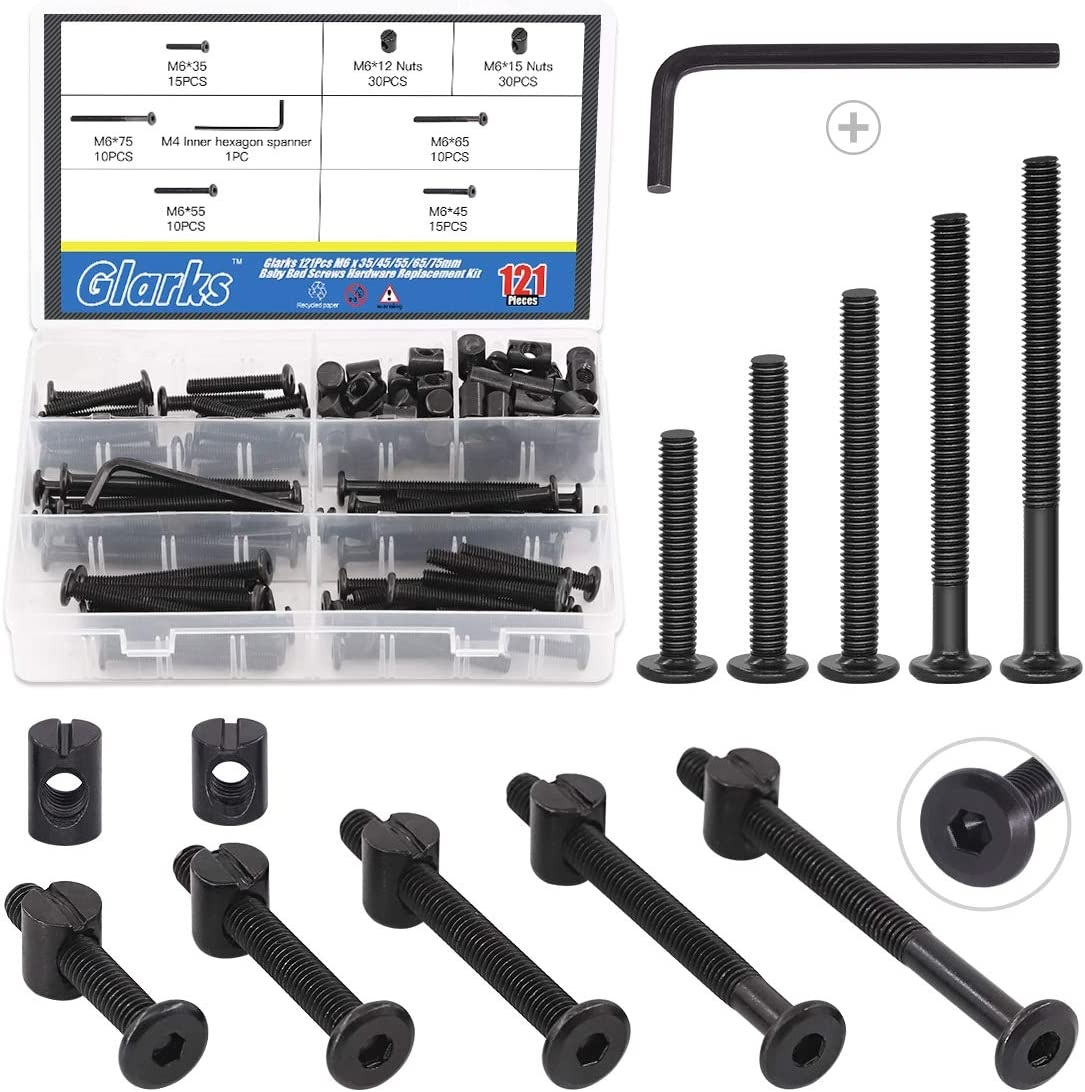 Glarks 120Pcs M6x35/45/55/65/75mm Black Hex Socket Cap Bolt and Barrel Nut Assortment Kit with a Allen Wrench for Crib Baby Bed Cots Furniture
