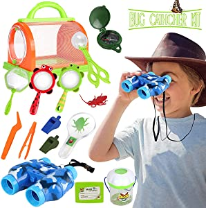 Outdoor Explorer Set,STEM Educational Bug Catcher Kit for Boys Girls Adventure Kit Fun Toys with Binoculars Compass, Magnifying Glass,Nature Explorer Bulk Best gift for Kids Age 3+
