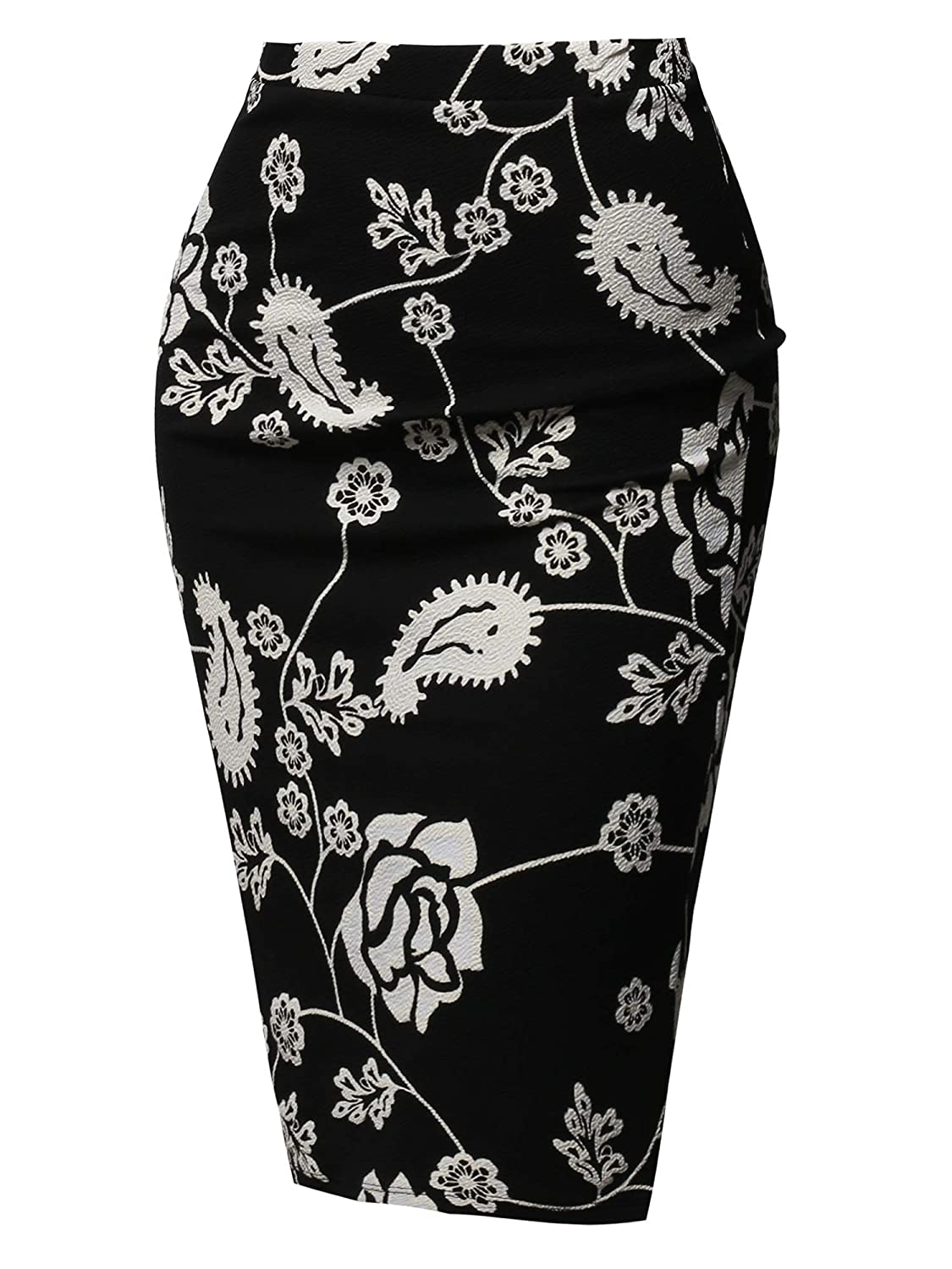 Aawskm0001 White Black Awesome21 Women's Fitted Stretch Solid Print High Waist Midi Pencil Skirt  Made in USA