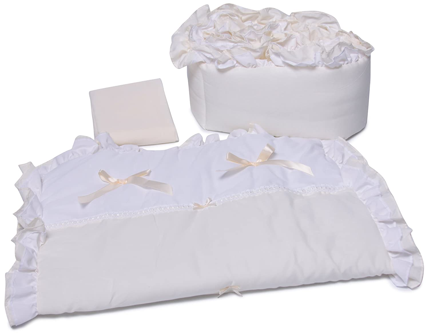 Baby Doll Bedding Regal Cradle Bedding Set, White 530cr36