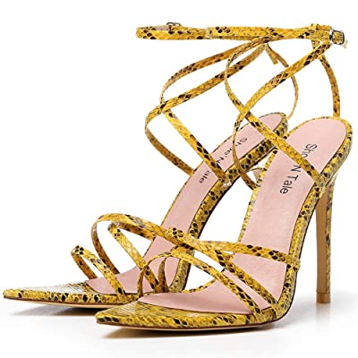Shoe'N Tale Women's Ankle Strappy High Heel Pointy Stilettos Criss Cross Open Toe Sexy Heeled Sandals | Heeled Sandals