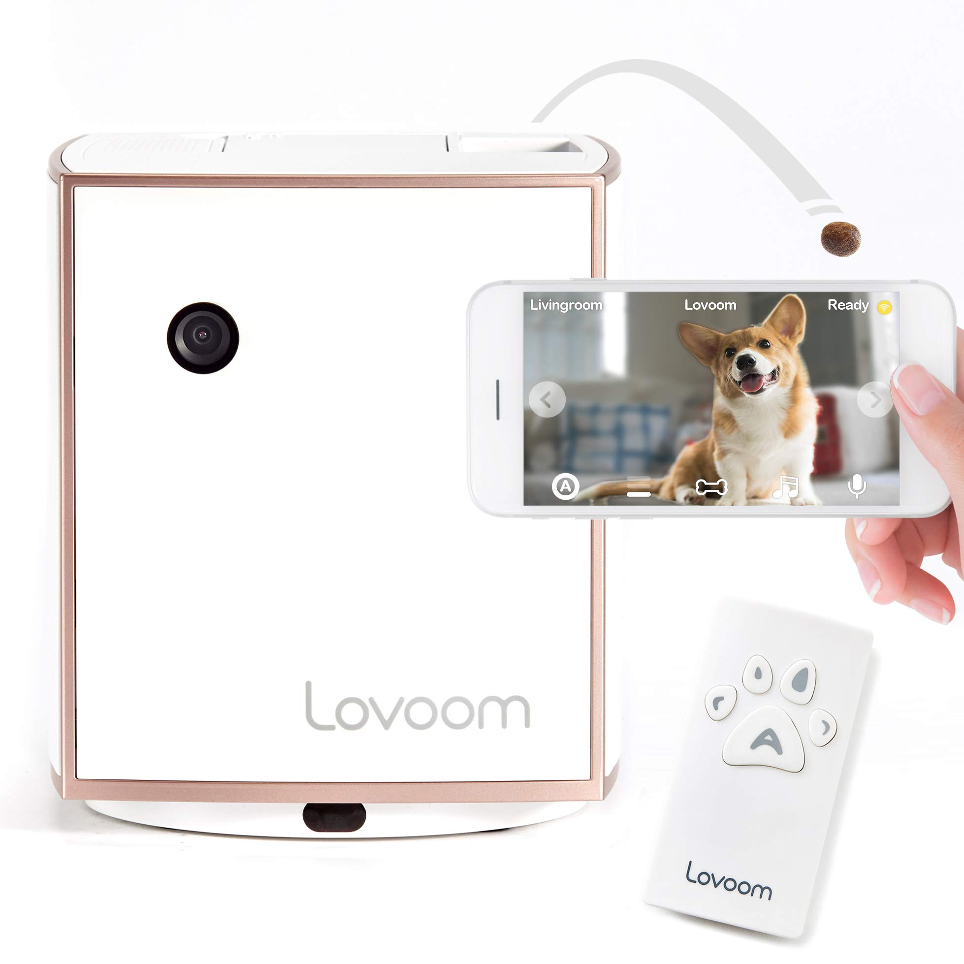LOVOOM Pet Camera: Kibble Tossing Play, Wi-Fi Kibble Cam with Pan Zoom Two Way Audio Remote Control for Dogs and Cats (Pink Gold)