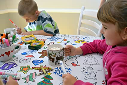 Amazon.com: The Coloring Table Colorable Holiday Tablecloth - Square ...