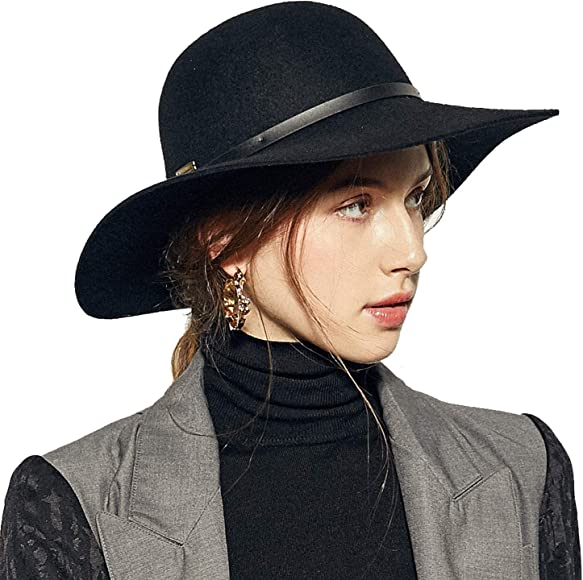 aed39290204234 Wide Brimmed 100% Wool Felt Floppy Hat Vintage Women Warm Triby Hats