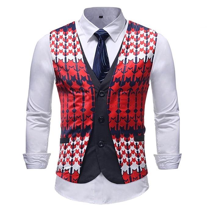 Resplend Hombre Que Imprime la Blusa sin Mangas Impresa Ocasional de la Chaqueta del Chaleco del