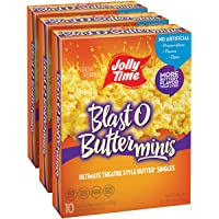 JOLLY TIME Blast O Butter Mini Bags | Movie Theater Style Extra Buttered Microwave Popcorn - Single Serve Individual Snack Size Portions (10-Count Box, Pack of 3)