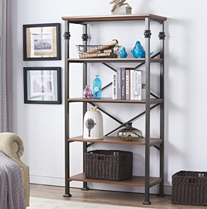 Ou0026K Furniture 5 Tier Vintage Industrial Bookcase Furniture, Home Office  Open Shelving Unit,