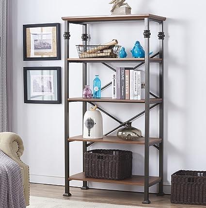 Wonderful Ou0026K Furniture 5 Tier Vintage Industrial Bookcase Furniture, Home Office  Open Shelving Unit,
