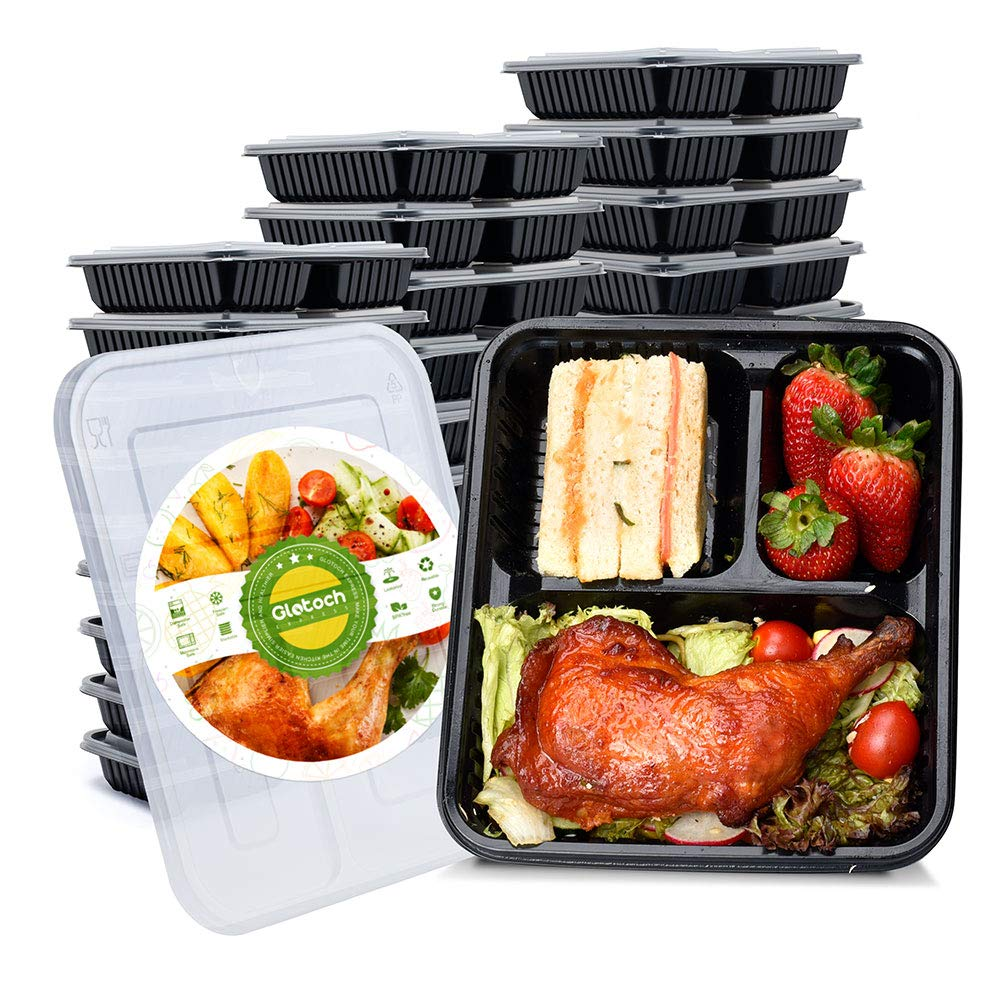 Glotoch 34oz Meal Prep Containers 3 Compartment with Lids BPA Free Portion Control, Microwave/Dishwasher/Freezer Safe Reusable Bento Boxes To-Go containers 21 day fix containers(20pack)