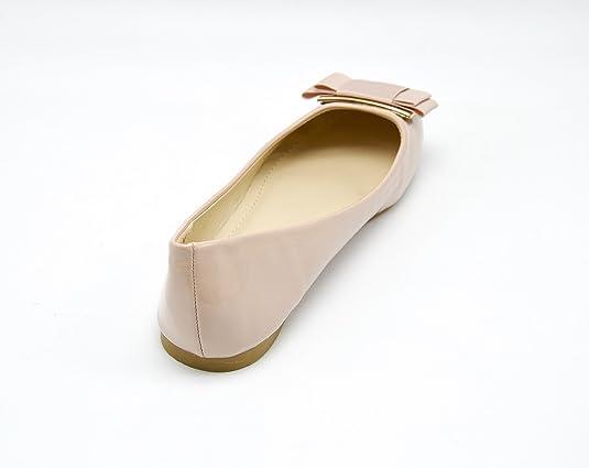 9d052e180fa14 Oh My Shop SHP78C   Ballerines Unies Vernies Ruban Noeud Large à l avant - Mode  Femme  Amazon.fr  Chaussures et Sacs