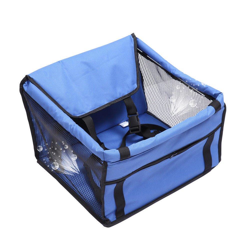 Pet Car Seat Puppy Cat Dog Car Carrier Travel Protector Cestino di Sicurezza con Grenadine Traspirante Pad Blue