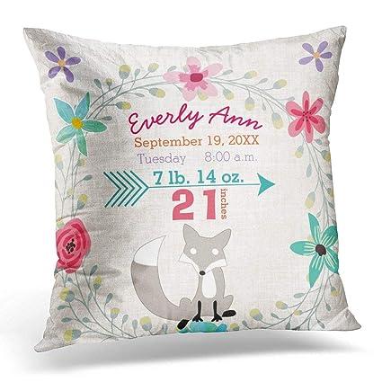 Amazon Throw Pillow Cover Nursery Birth Stats Baby Girl Delectable Baby Girl Decorative Pillows