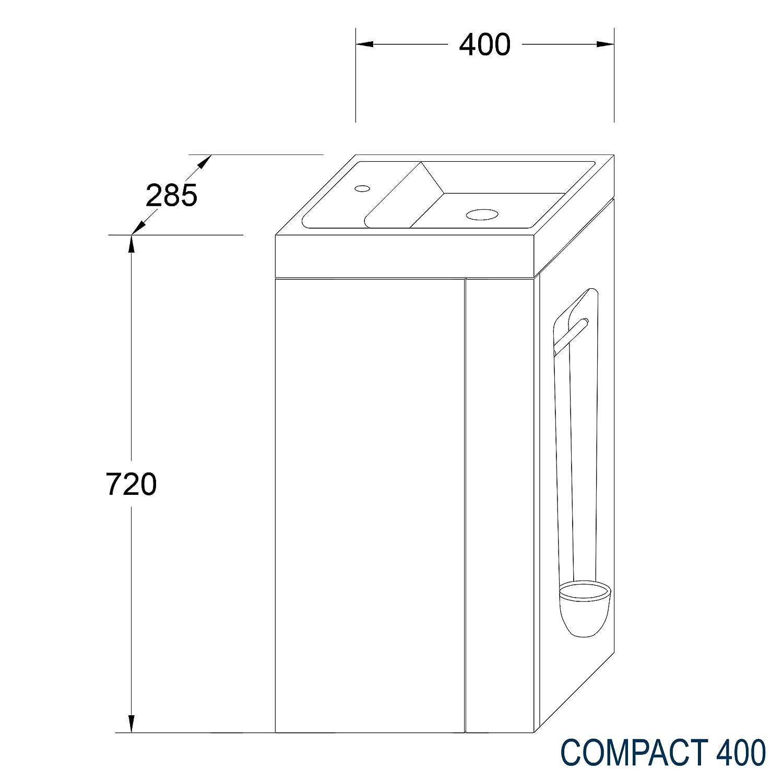 Badm/öbel-Set Compact 400 f/ür G/äste-WC Ablaufgarnitur//Pop-up:Mit Ablaufgarnitur Wei/ß matt