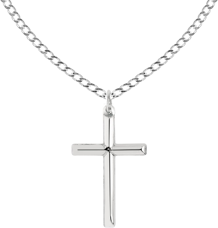 Ritastephens Sterling Silver Shiny Italian Cross Pendant Necklace (35mm, 43mm)