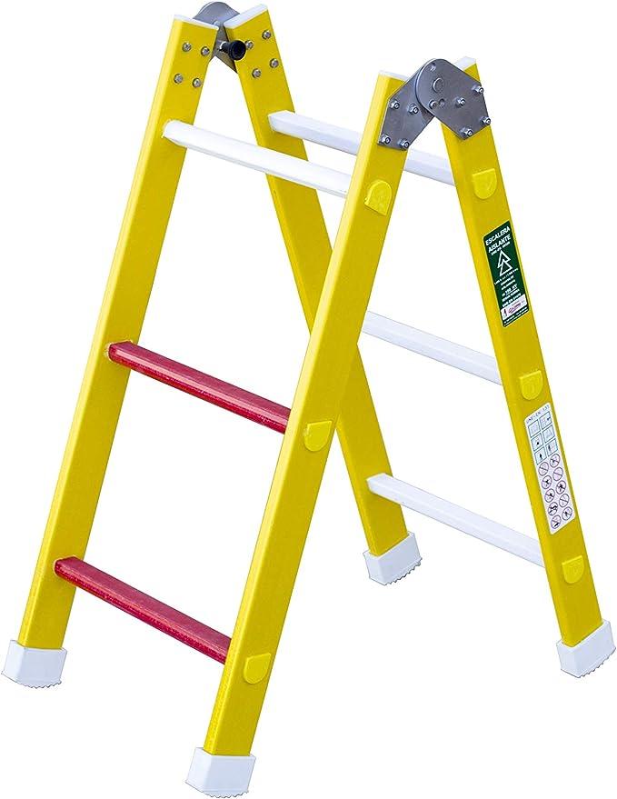 Escalera aislante de un tramo plegable. Permite su uso como escalera de un tramo o escalera de tijera, fabricada en fibra de vidrio. Según norma UNE-EN 131 (6 peldaños): Amazon.es: Bricolaje y