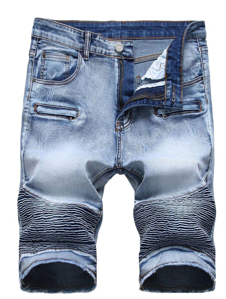 Lavnis Men's Casual Denim Shorts Classic Fit Ripped Jeans Biker Shorts 34