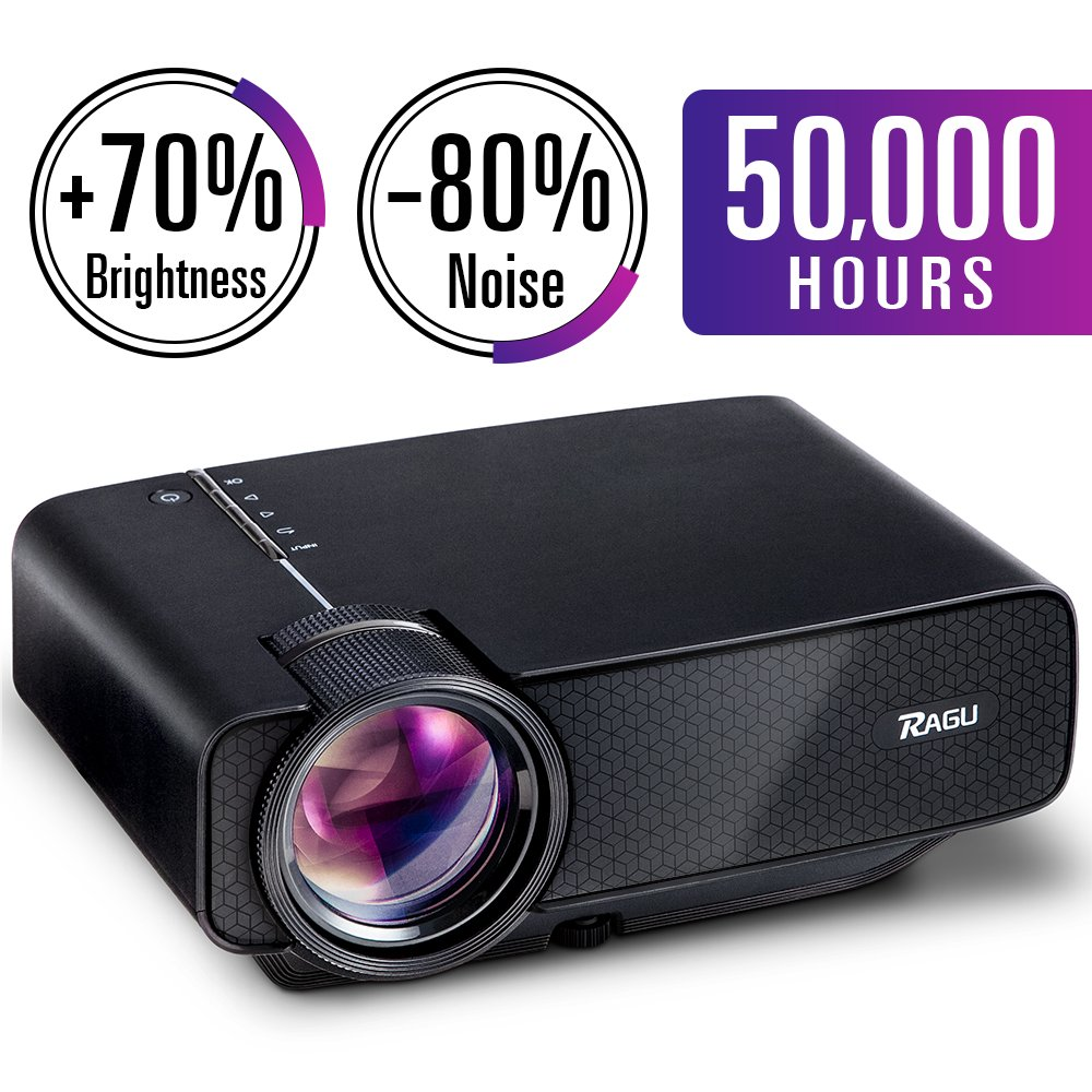RAGU Z400 Mini Portable Projector, Home Entertainment Video Projector Movie Theater LED Multimedia Projector