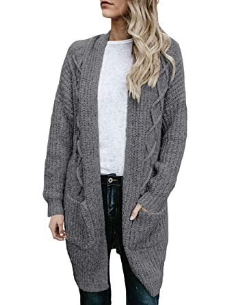 914bb77892e Utyful Women Casual Loose Open Front Long Sleeves Chunky Cable Knit Grey  Long Cardigans Sweater Pockets Size S 4 6 at Amazon Women s Clothing store