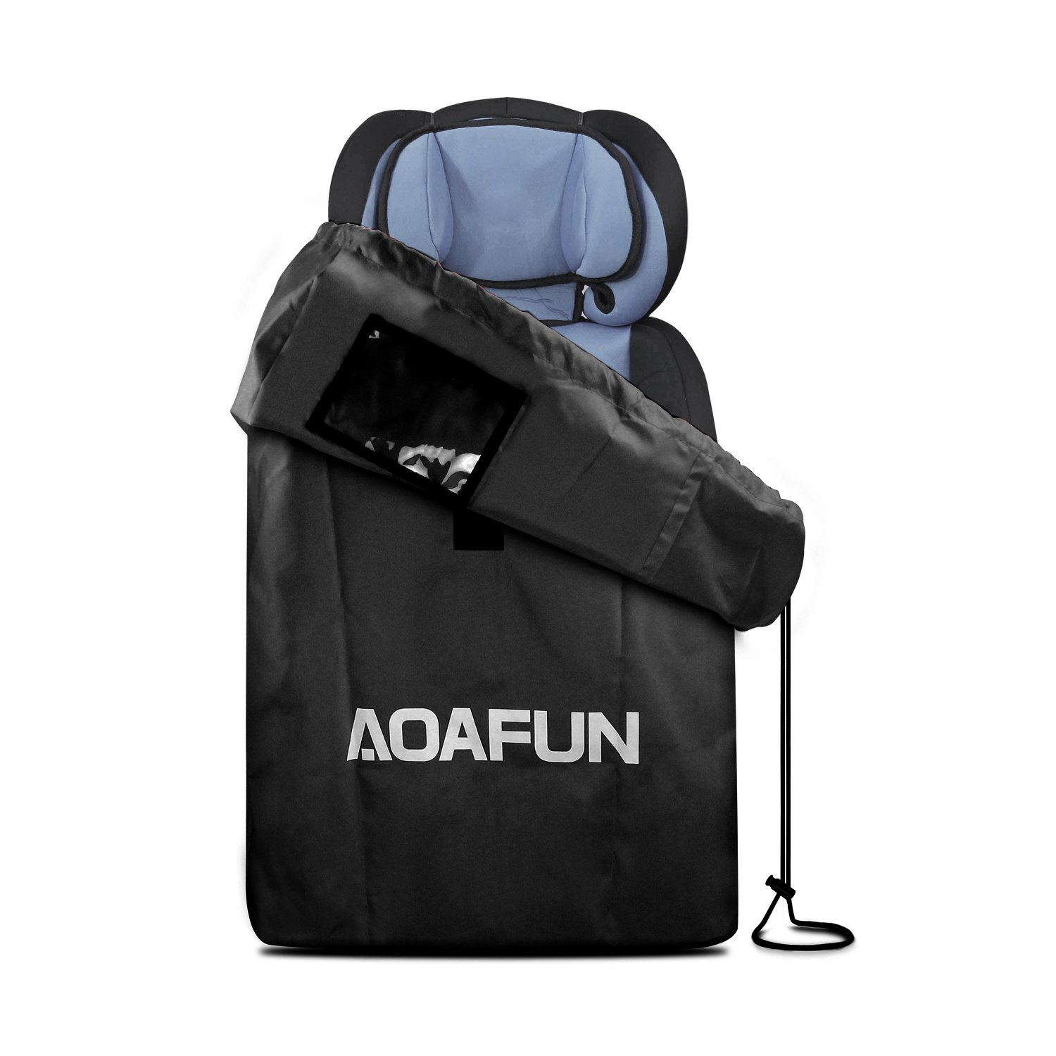 AOAFUN Car Seat Travel Bag,Gate Check Bag for Car Seats,Backpack Padded  for Strollers ,Pushchairs, Wheelchairs, Water Resistant for Airplanes Trains- (Black)