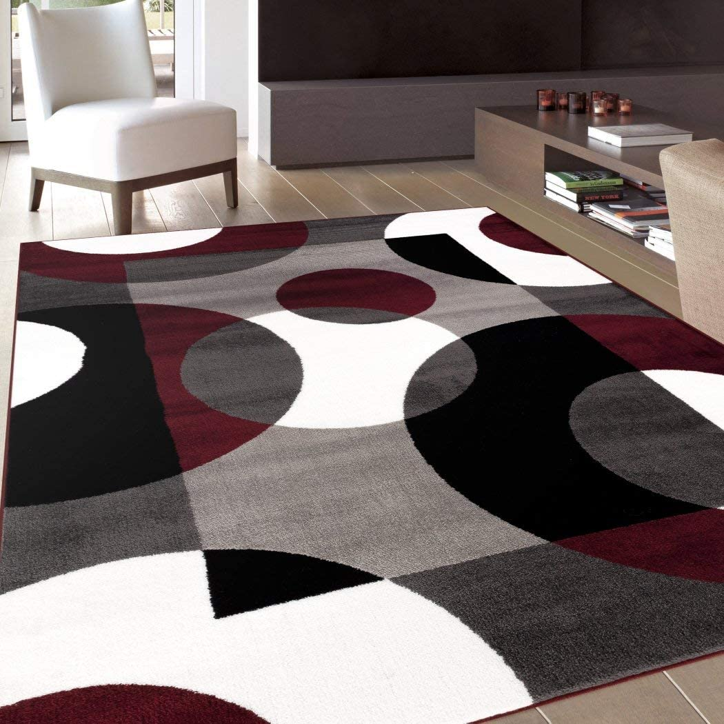 3 3 X5 Ft Burgundy Grey White Black Gray Multi Colored Geometric Circles Modern Area Rug Indoor Abstract Living Room Mat Rectangle Carpet Artistic Bold Colors Polypropylene Contemporary Flooring Garden Outdoor