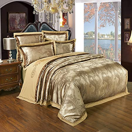 Luxury Bedding Sets Satin Jacquard Include 1 Duvet Cover 1 Flat