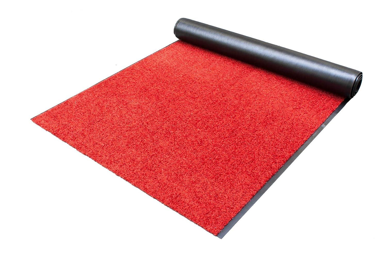 Schmutzfangläufer Schmutzfangteppich WASH and CLEAN – Rot 0,90m x 3,00m - waschbar, rutschfest, wasserabsorbierend , UV-Beständig - Fußmatte für Innen und Außen, Küchenläufer, Sauberlauf