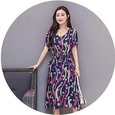 cbaa227de9 meiguiyuan New O-Neck Mid-Calf 2019 Longo Vanled Maix Dress Ladies Short-