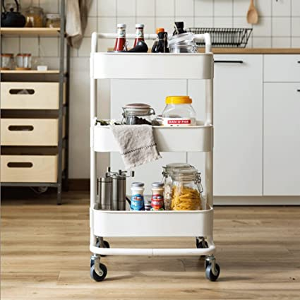 3 tier mobile small carts home kitchen shelves decorative bookshelves multi functional storage rack - Kitchen Bookshelves