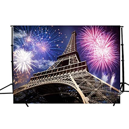 dodoing 7x5ft colorful fireworks night lighting eiffel tower photography backdrop photo studio props background for wedding