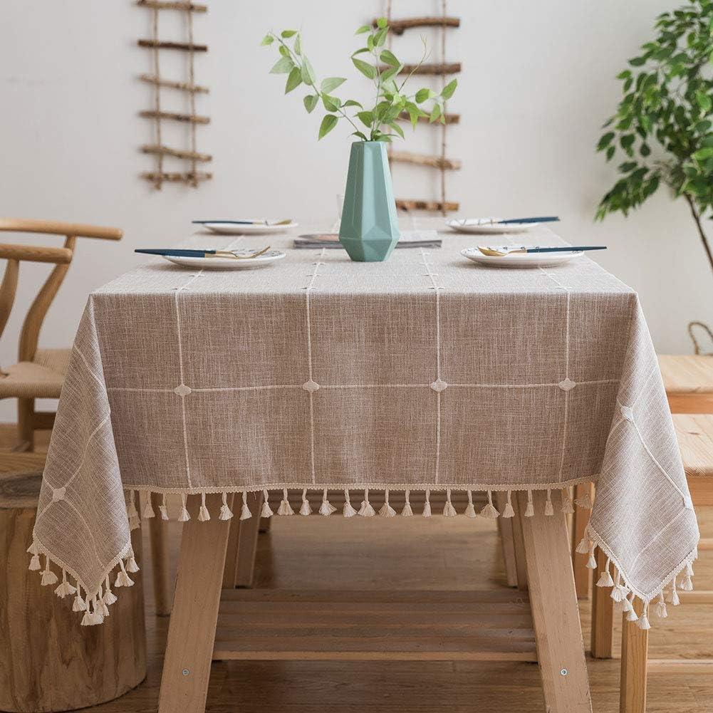 Lipo Farmhouse Tablecloths Rectangle Tablecloth 55 x 70 Light Brown