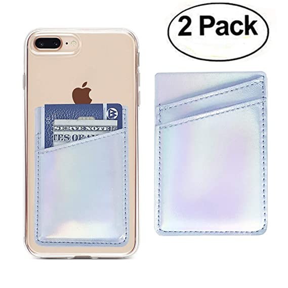 online store 82abe 81a2e Oddss 2 Pack Cell Phone Card Holder Sticker on Back of Phone Holographic  Iridescent Silver PU Leather Wallet Pocket Pouch Sleeves Cover Compatible  for ...
